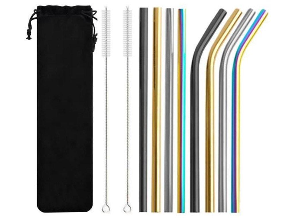 Nerezová brčka 8ks + 2x kartáček na čištění barevná
