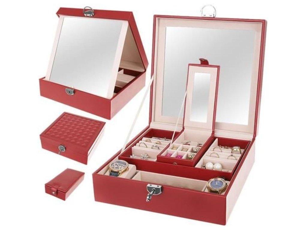 Luxusní šperkovnice se zrcadlem bordó