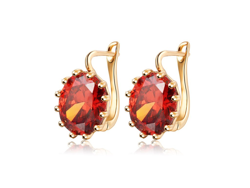 17KM 4 Colors Steampunk Gold Color Blue Crystal Flower Stud Earrings for Women Gothic Wedding Earring EJCS128red (1)