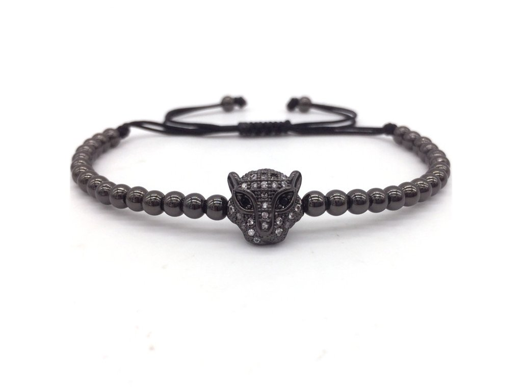 NAIQUBE 2017 Fashion Men Bracelets Micro Pave CZ Leopard Head Braided Macrame Charm Bracelets Men Beads 2
