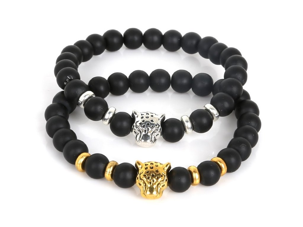 NiceBeads 19cm Antique Leo Lion Head Buddha Bracelet Black Natural Matte Stone Bracelets For Men Women 2