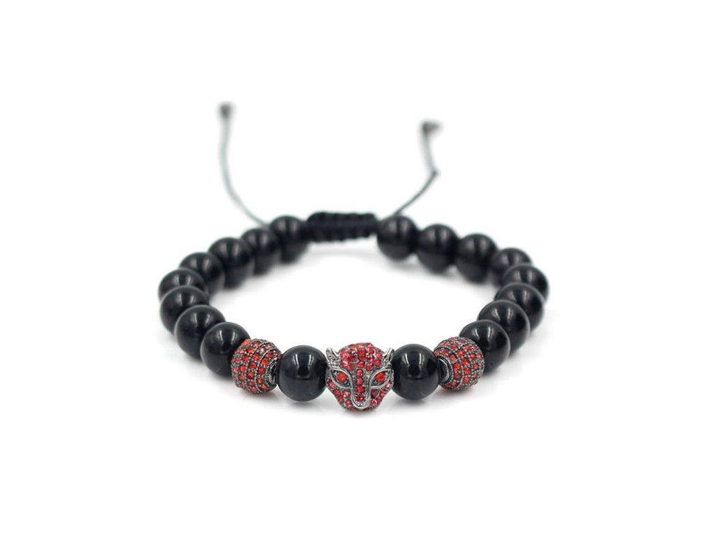 Anil Arjandas Macrame Bracelet Brass Crystal Leopard Head Charm 8mm Black Onyx Stone Bead Braided Weave 20