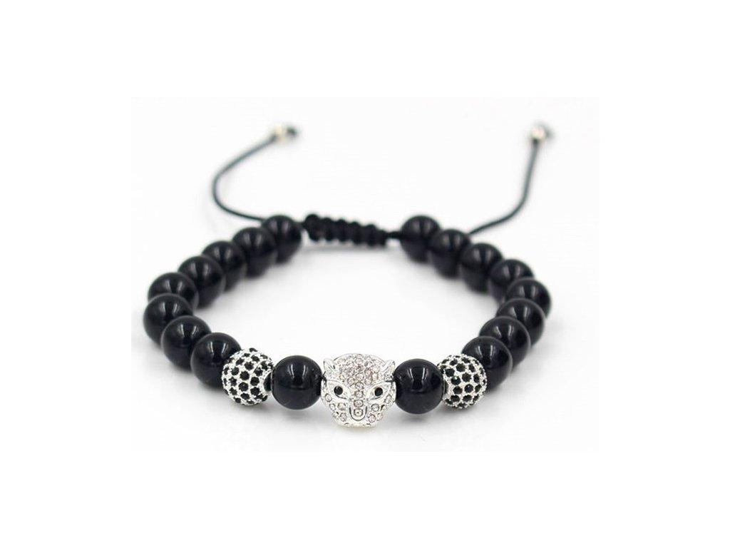 Anil Arjandas Macrame Bracelet Brass Crystal Leopard Head Charm 8mm Black Onyx Stone Bead Braided Weave 42