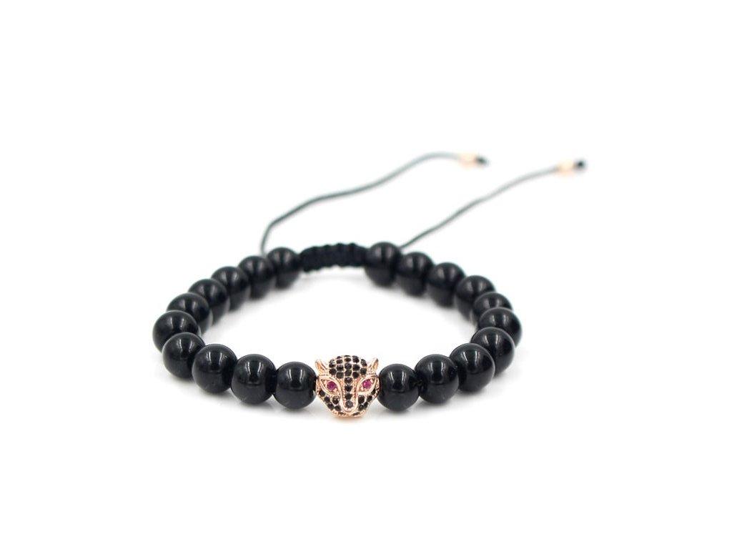 Anil Arjandas Macrame Bracelet Brass Crystal Leopard Head Charm 8mm Black Onyx Stone Bead Braided Weave 44