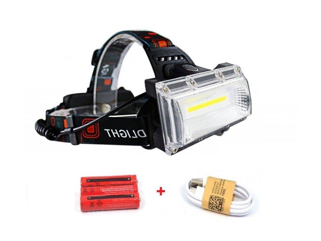 Dobíjecí čelovka Headlamp W607/W608 1 x COOB LED MAXI + příslušenství ZDARMA  + Příslušenství ZDARMA