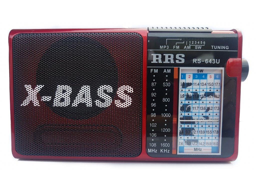 Přenosné rádio s přehrávačem FM, AM, USB, Micro SD RS-643U