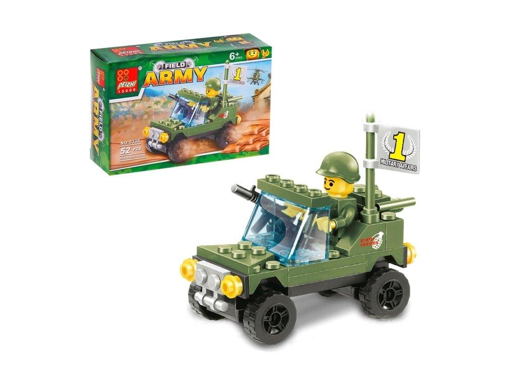 Stavebnice Vojenský jeep 52 dílků
