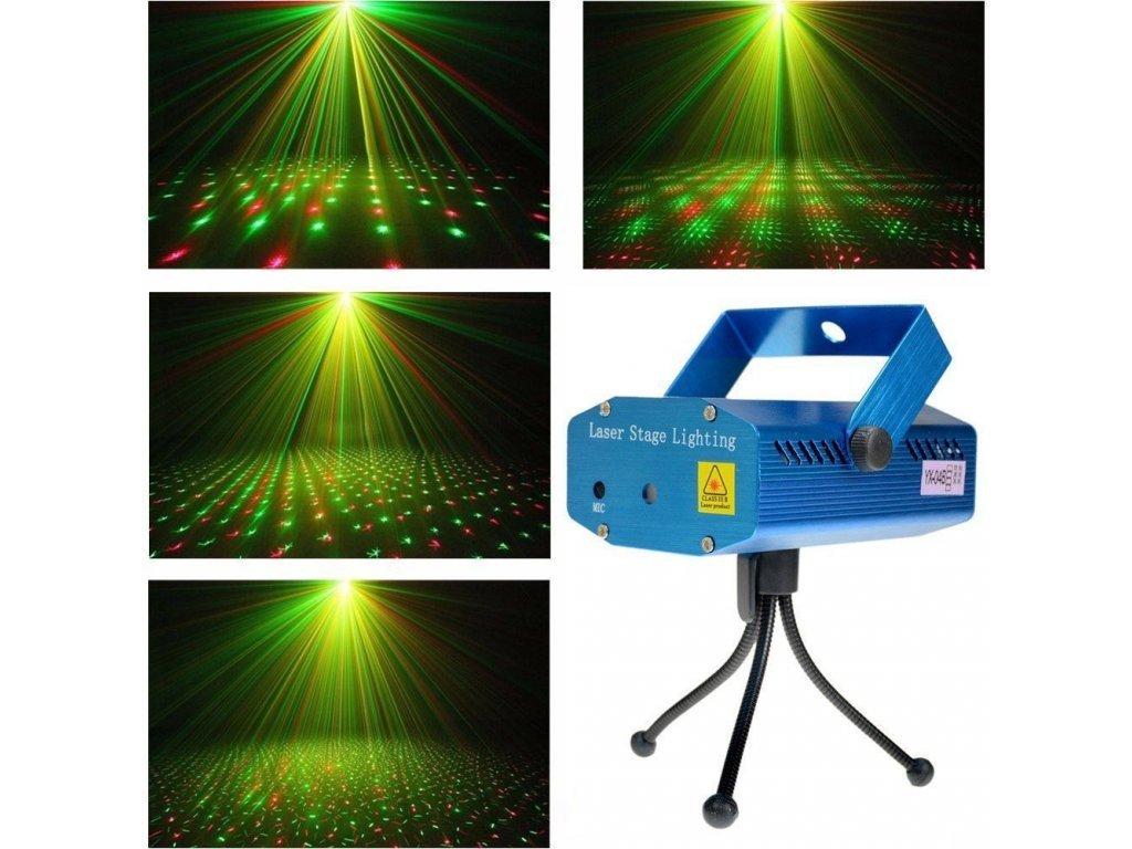 1786 disco laser mini laserovy projektor svetlo zeleny cerveny