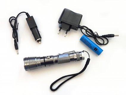 Ruční hliníková dobíjecí LED svítilna s poutkem  + Příslušenství ZDARMA