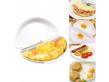 1 pi ces Portable deux oeufs micro ondes omelette cuisini re casserole oeufs vapeur cr pe