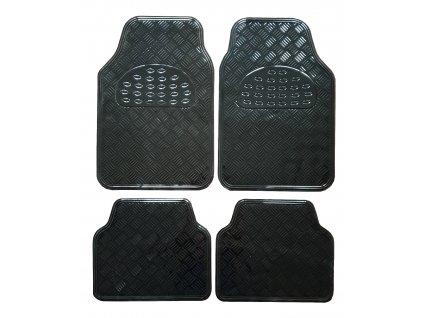 Univerzální gumové koberce hliníková imitace černé - 4ks