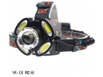 Dobíjecí čelovka 1x CREE LED + 4x COB LED + příslušenství ZDARMA