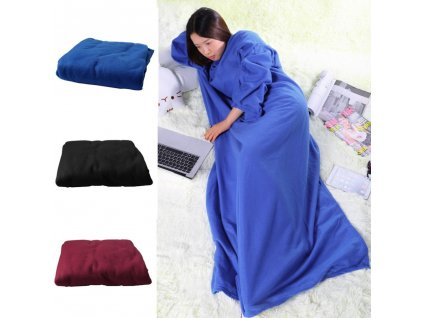 0 2019 The most fashionable dinner family winter warm wool blanket robe shawl with sleeves