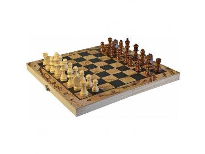 drevo hra sachy dama backgammon 30x30cm 3v1 spolecenske hry