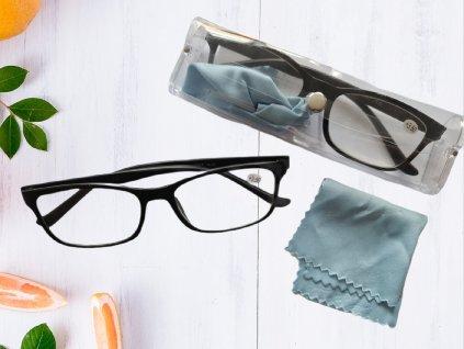 Dioptrické brýle na čtení s pouzdrem a hadříkem