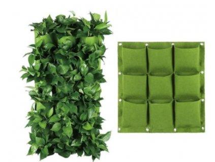 Závěsné textilní květináče - 9 kapes