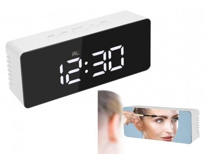 eng pl Clock Alarm Clock Thermometer Mirror Led Alarm Date 4in1 2032 1 3