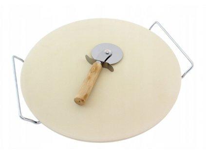 Pizza set - kameninový podnos 33 cm + kráječ