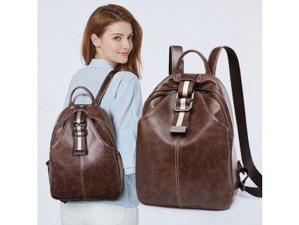 Dámský hnědý batoh voskovaná eko kůže PL147BR