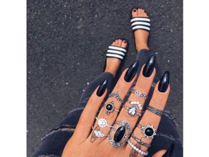 Sada 12 prstenů - stříbrné PE55
