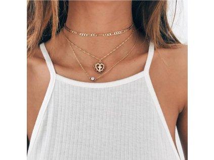 Dámský trojitý náhrdelník N598
