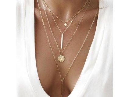 Dámský náhrdelník zlatý 4v1 N639