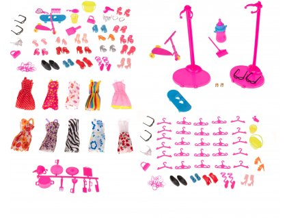 Sada šatů a doplňků pro panenky 85 ks