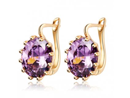 17KM 4 Colors Steampunk Gold Color Blue Crystal Flower Stud Earrings for Women Gothic Wedding Earring EJCS128purple (1)