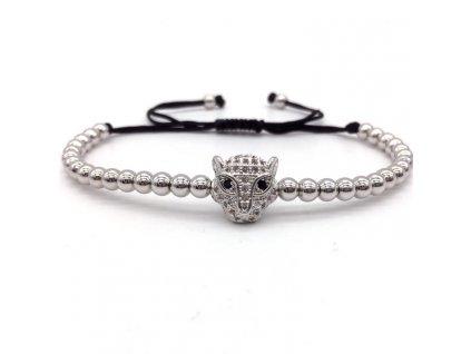 NAIQUBE 2017 Fashion Men Bracelets Micro Pave CZ Leopard Head Braided Macrame Charm Bracelets Men Beads 3