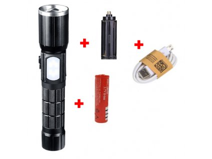 Recargable LED de aluminio Zoom Linterna YGAE CREE T6 Linterna antorcha USB 18650 al aire libre Package C