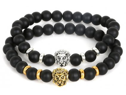 NiceBeads 19cm Antique Leo Lion Head Buddha Bracelet Black Natural Matte Stone Bracelets For Men Women 24