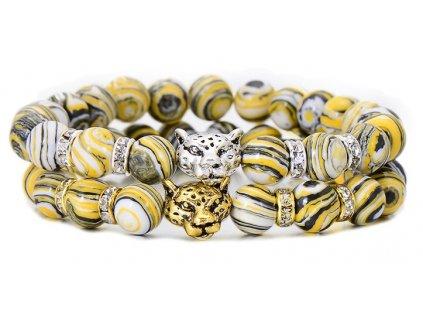 Fashion Crystal Beaded Charm Alloy Leopard Head Bracelet Bangle 2017 New Unique Natural Zebra Stone Strand 1