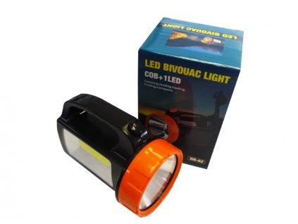 Ruční svítilna COB + 1LED s bočním světlem 2v1