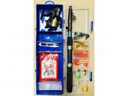 Dětská rybářská sada - prut 1,8m + naviják + doplňky v praktickém kufříku