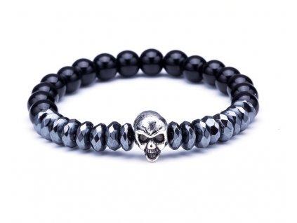 Black lava stone bead bracelets Natural stone round beads bracelet for women Skull crown rhinestone stretch B020238