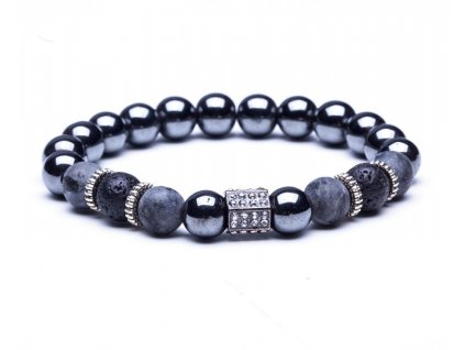 Black lava stone bead bracelets Natural stone round beads bracelet for women Skull crown rhinestone stretch B020237