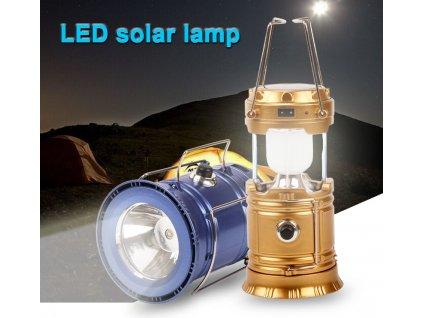 Multifunkční solární přenosná lampa se zářivkou + LED svítilna 2v1