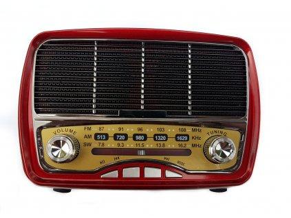 Přenosné retro rádio Meier M-165BT v červeném provedení
