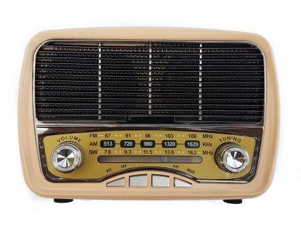 Přenosné retro rádio Meier M-165BT v béžovém provedení