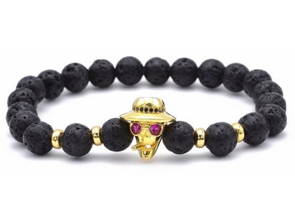 2017 ATTYIRENA Hot Sale 8MM Lava Charm Men s Bracelets High Quality CZ Skull Smoke Strand 40