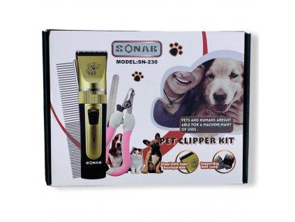 Akční set - nabíjecí stříhací strojek pro kočky a psy Sonar SN-230