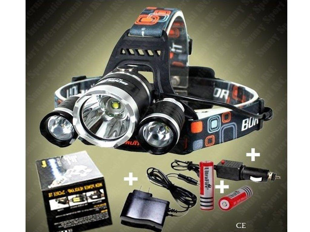 Dobíjacie čelovka Boruit 3 x CREE LED  + Príslušenstvo zadarmo