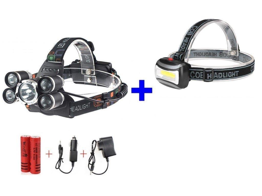 Nabíjací čelovka Headlamp 5 x CREE LED + čelová lampa COB 3W LED a príslušenstvo ZADARMO