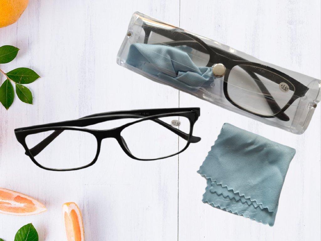Dioptrické brýle na čtení s pouzdrem a hadříkem (Dioptrie +2.00)
