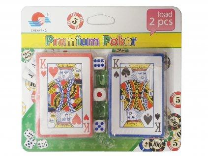 Karty dvojhlavé na poker - 2 sady + 3 kocky