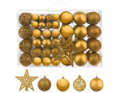 112830 sada vanocnich kouli 100 ks hvezda zlata