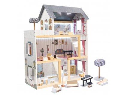 KX6201 Domek dla lalek MDF drewniany z akcesoriami LED 80cm czarny 1 1
