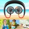 Fan Mini Portable USB 1200mAh Rechargeable Neckband Lazy Neck Hanging Style Dual Cooling Fans Gadget Inteligente
