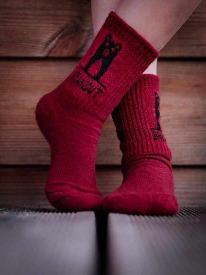 dětské merino ponožky vínové breakout