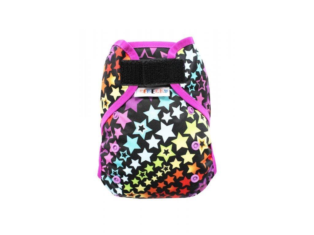 Svrchní kalhotky MINI XS bez křidélek - Hvězdná duha SZ , fialové patentky + fialová gumička